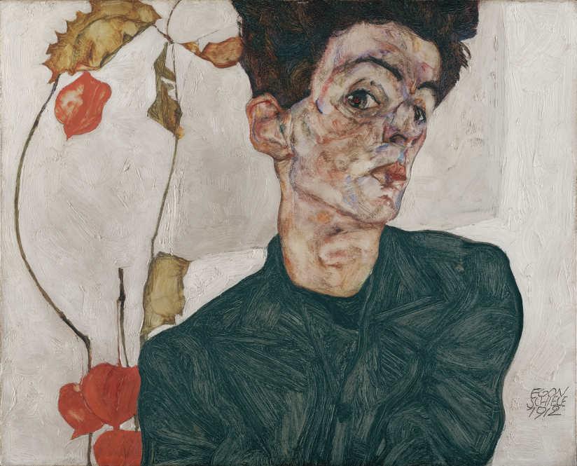 Egon Schiele, Selbstbildnis mit Lampionsfrüchten, 1912 © Leopold Museum, Wien.