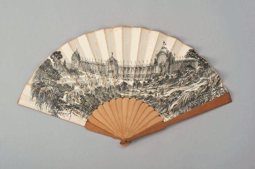 Fächer von der Weltausstellung Paris 1878, um 1878, Hergestellt von: Duvelleroy, Paris, Faltfächer aus Papier, 30,5 x 54 cm, Germanisches Nationalmuseum, Nürnberg.