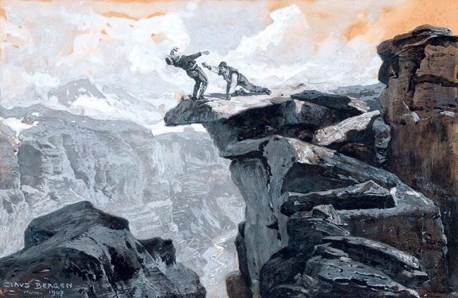 Claus Bergen (1885 – 1964), Barud el Amasat griff in die Luft und stürzte hinab, 1907, Gouache und Deckweiß auf Karton, Privatsammlung, Schweiz.