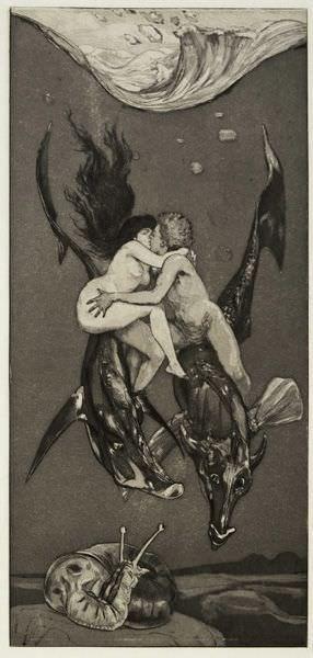 Max Klinger (1857–1920), Verführung, 1884, Radierung, Foto: Museum der bildenden Künste Leipzig.