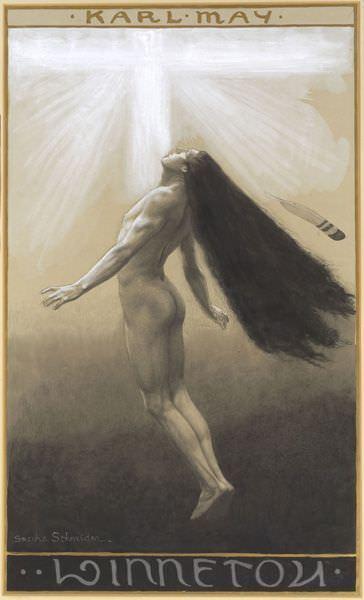 Sascha Schneider (1870–1927), Winnetou III, 1904, Buchdeckelentwurf, Aquarell, Kreide, Bleistift auf Karton, Karl-May-Museum Radebeul, Foto: Peter Schubert.