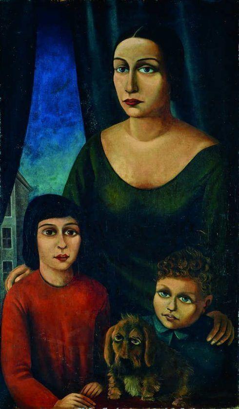 Carlo Mense, Familienbildnis, 1925, Öl auf Leinwand, 99 x 60 cm, Marburg, Museum für Kunst und Kulturgeschichte, © Bildarchiv Foto Marburg