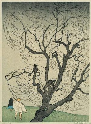 Emil Orlik (1870-1932), Ein Windstoß (Der Windstoß), 1901, Farbholzschnitt, 33,1 x 23,9 cm, Foto: Maria Thrun.