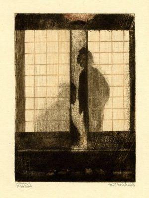 Emil Orlik (1870-1932), Am Abend (Dämmerung, Mädchen in einem japanischen Teehaus), 1901, Farblithographie, 16,3 x 11,7 cm, Foto: Maria Thrun.