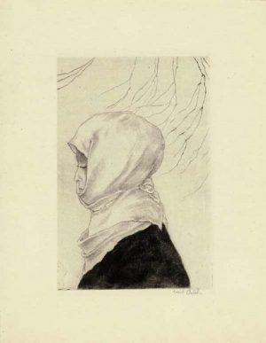 Emil Orlik, Japanerin in Winterkleid (Profil), 1901