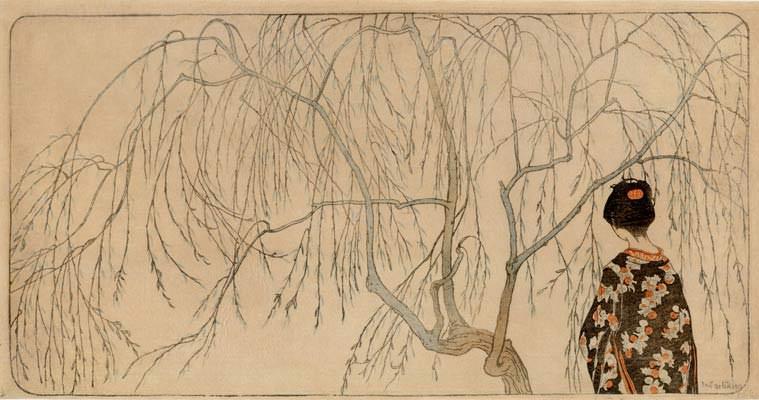 Emil Orlik. Japanisches Mädchen unter Weidenbaum, 1902.