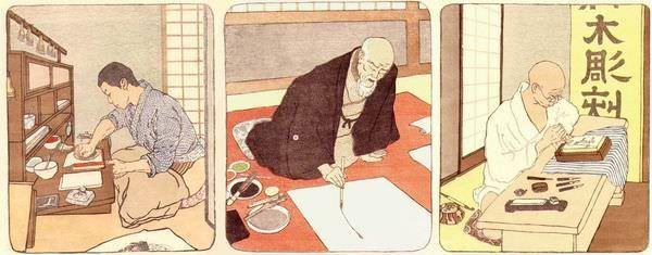 Emil Orlik, Maler, Holzschneider und Drucker in Japan, 1900/01, Farbholzschnitt.