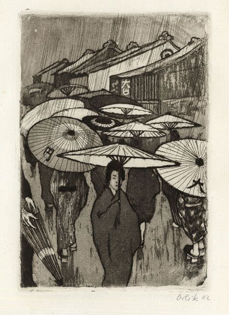 Emil Orlik (1870-1932), Rast im Gebirge (Rast), Detail, 1900, Farbholzschnitt, 21,9 x 31 cm, Foto: Maria Thrun.