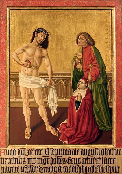 Meister des Albrechtsaltars, Epitaphbild des Johannes Geus, 1440, Malerei auf Tannenholz, 120 x 85 cm © Bischöfliches Dom- und Diözesanmuseum, Wien.