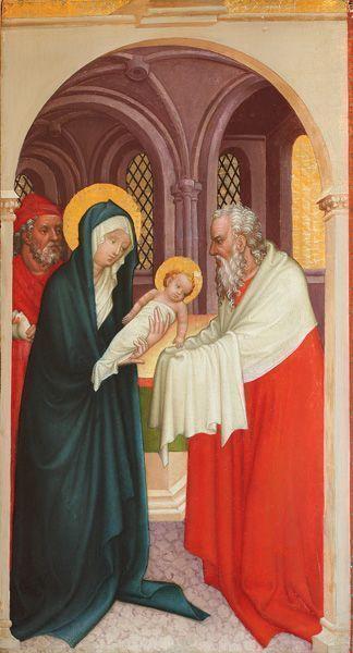 Meister der Darbringung und Mitarbeiter, Darbringung im Tempel, um 1430, Malerei auf Fichtenholz, 74,8 x 40,5 cm © Stiftsmuseum Klosterneuburg.