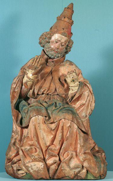 Jakob Kaschauer (Werkstatt), Thronender hl. Papst, um 1440/50, Lindenholz, gefasst, Höhe 153 cm © Belvedere, Wien.