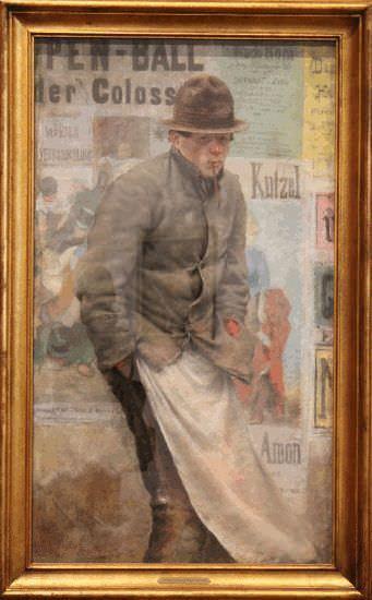 Josef Engelhart, Der Pülcher, 1888, Tempera auf Papier, 121 × 70 cm © Belvedere, Wien, Leihgabe des Vereins der Museumsfreunde Wien.