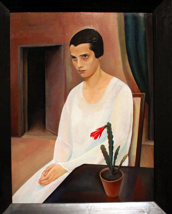 Sergius Pauser, Dame in Weiß, 1927, Öl auf Sperrholz, 81,6 × 61,1 cm © Gemälde- und Skulpturensammlung der Museen der Stadt Nürnberg.