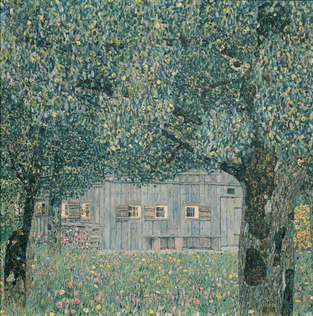 Gustav Klimt, Oberösterreichisches Bauernhaus, 1911, Öl auf Leinwand, 110 x 110 cm, Belvedere, Wien © Belvedere Wien.