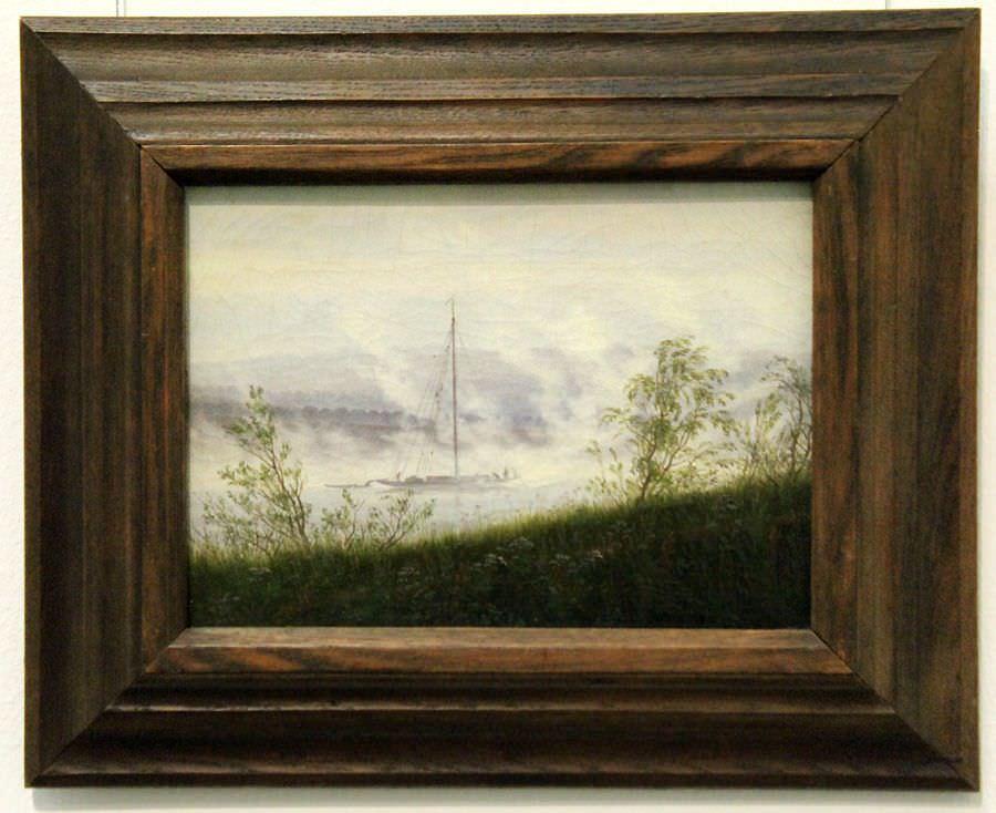 "Caspar David Friedrich, Flussufer im Nebel, um 1821 (Wallraf-Richartz-Museum & Fondation Corboud, Köln), Installationsansicht ""Wolken"" im Leopold Museum, Foto: Alexandra Matzner."