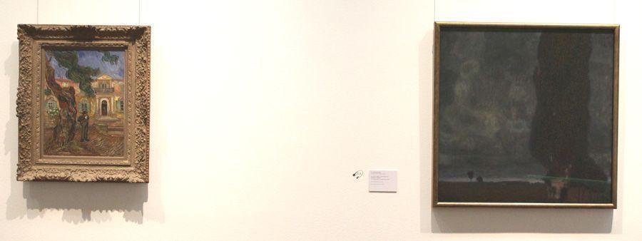 """Installationsansicht """"Wolken"""" im Leopold Museum mit Werken von Vincent van Gogh und Gustav Klimt, Die große Pappel II (Aufsteigendes Gewitter), 1902-1903, Leopold Museum, Wien, Foto: Alexandra Matzner."""
