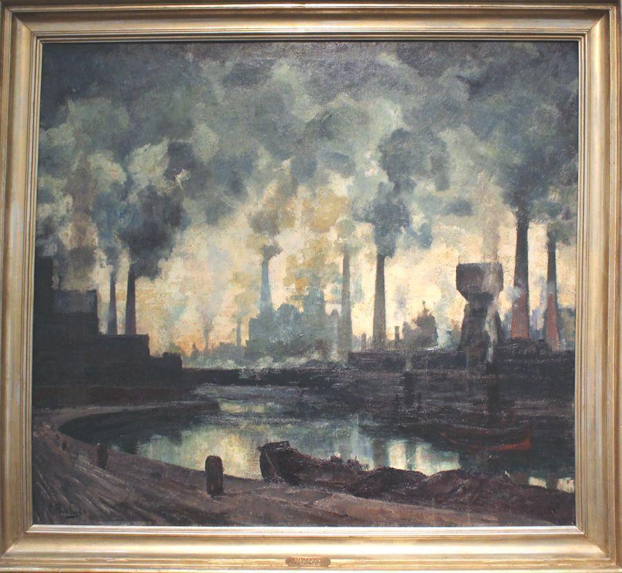 """Pierre Paulus, Schornsteine, um 1930 (Sammlung Musée des Beaux-Arts de Charleroi), Installationsansicht """"Wolken"""" im Leopold Museum, Foto: Alexandra Matzner."""