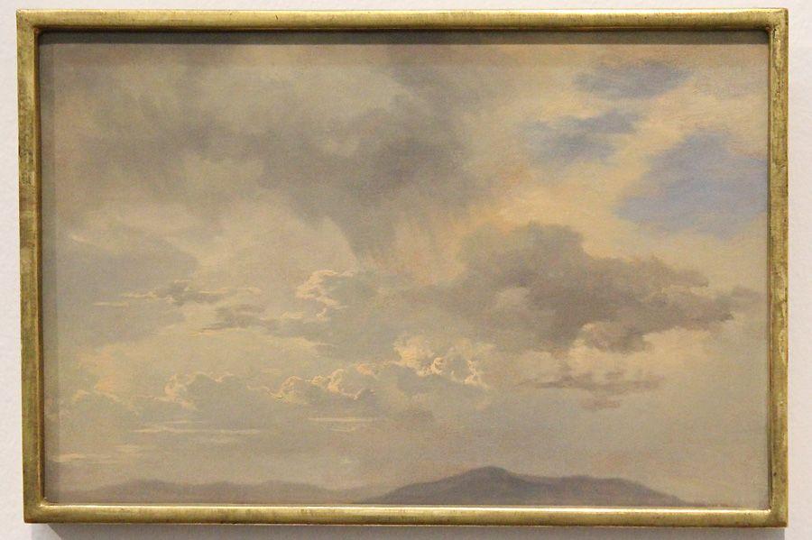 """Adalbert Stifter, Wolkenstudie, um 1840 (Belvedere, Wien), Installationsansicht """"Wolken"""" im Leopold Museum, Foto: Alexandra Matzner."""