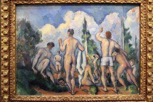 """Paul Cézanne, Badende, um 1890 (Paris, musée d`Orsay, Schenkung Baronin Eva Gebhard-Gourgaud, 1965), Installationsansicht """"Wolken"""" im Leopold Museum, Foto: Alexandra Matzner."""
