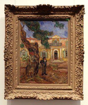 """Vincent van Gogh, Hôpital Saint-Paul in Saint-Rémy-de-Provence, 1889 (Paris, musée d`Orsay, Schenkung Max und Rosy Kaganovitch, 1973), Installationsansicht """"Wolken"""" im Leopold Museum, Foto: Alexandra Matzner."""