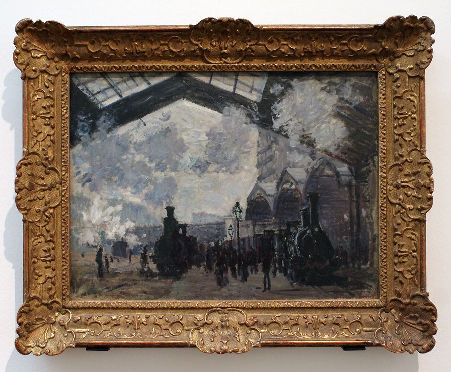 """Claude Monet, Der Bahnhof Saint-Lazare, 1877 (The National Gallery, London. Turner Nachlass 1856), Installationsansicht """"Wolken"""" im Leopold Museum, Foto: Alexandra Matzner."""