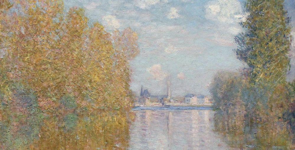 """Claude Monet, Herbststimmung in Argenteuil, Detail, 1873 (The Samuel Courtauld Trust, The Courtauld Gallery, London), Installationsansicht """"Wolken"""" im Leopold Museum, Foto: Alexandra Matzner."""