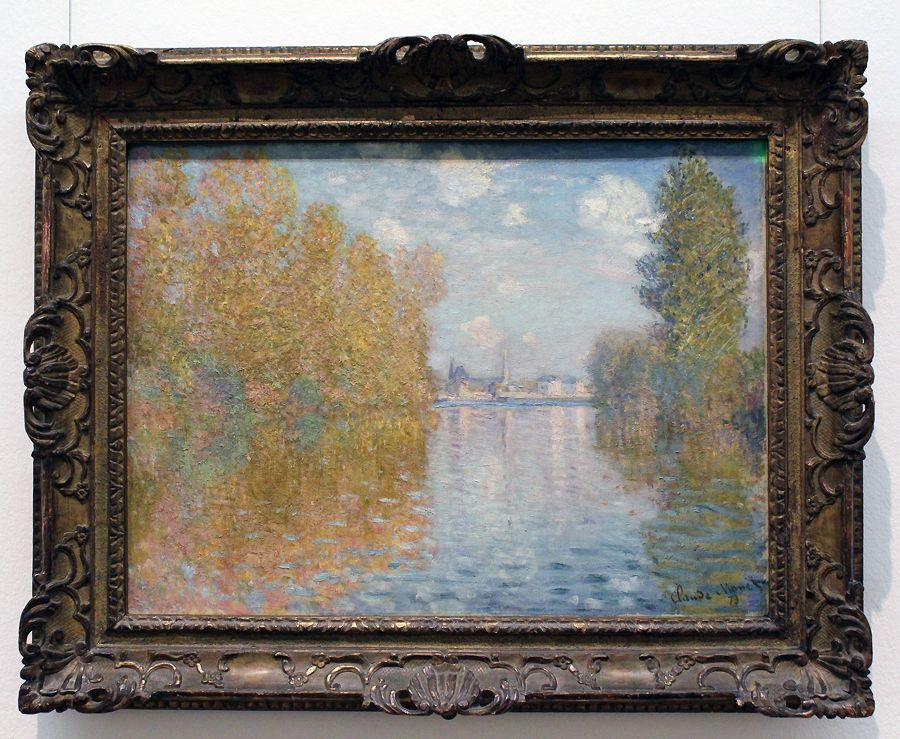 """Claude Monet, Herbststimmung in Argenteuil, 1873 (The Samuel Courtauld Trust, The Courtauld Gallery, London), Installationsansicht """"Wolken"""" im Leopold Museum, Foto: Alexandra Matzner."""