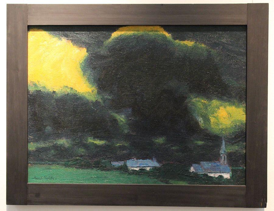"""Emil Nolde, Landschaft (Haus und Kirche), 1916 (Staatliche Kunsthalle Karlsruhe), Installationsansicht """"Wolken"""" im Leopold Museum, Foto: Alexandra Matzner."""
