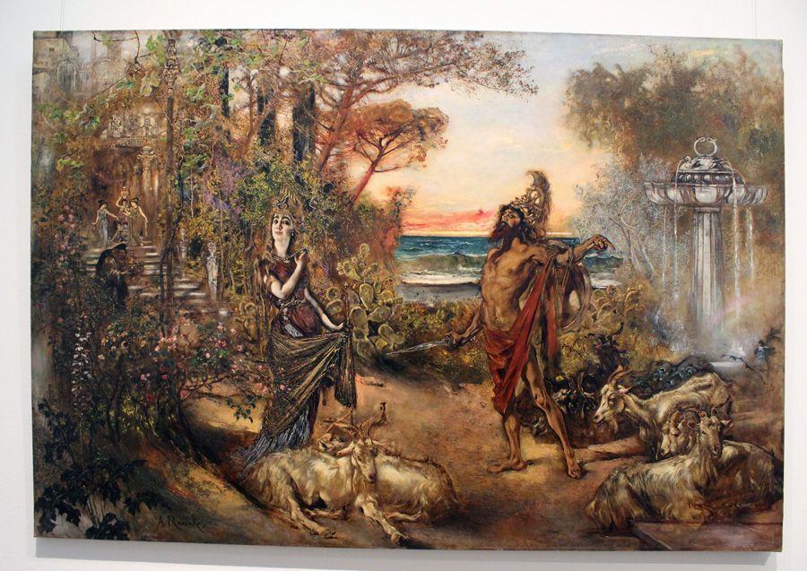 """Anton Romako, Odysseus vor Circe, 1884-1885 (Privatbesitz), Installationsansicht """"Wolken"""" im Leopold Museum, Foto: Alexandra Matzner."""