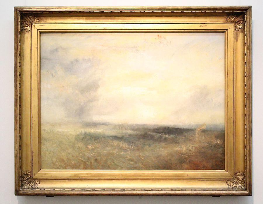 """William Turner, Margate (?) vom Meer, um 1835-1840 (The National Gallery, London. Turner Nachlass 1856), Installationsansicht """"Wolken"""" im Leopold Museum, Foto: Alexandra Matzner."""