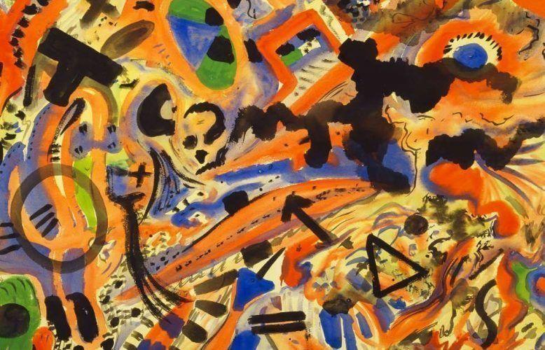 A. R. Penck, Grund, Detail, 1975/76, Aquarell auf rauem Velinpapier, 73 x 102 cm (Städel Museum, Frankfurt am Main, Graphische Sammlung © VG Bild-Kunst, Bonn 2018)