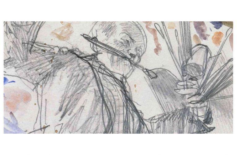 Adolph Menzel, Ein tanzender Maler (Selbstbildnis), Detail, flüchtige Skizze zu Kronprinz Friedrich besucht den Maler Antoine Pesne während der Arbeit auf dem Gerüst, um 1861 (© Staatliche Museen zu Berlin, Kupferstichkabinett / Jörg P. Anders)