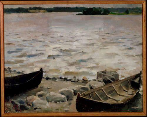 Akseli Gallen-Kallela, Boote am Ufer, 1884, Öl/Lw, 31.5 × 40 cm (Antell collections, Finnish National Gallery / Ateneum Art Museum © Photo: Finnish National Gallery / Pirje Mykkänen)
