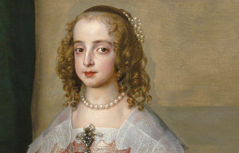 Anthonis van Dyck, Hochzeitsporträt von Prinzessin Maria Henrietta Stuart, Detail, 1641, Öl/Lw, 158,2 × 108,6 cm (Szépművészeti Múzeum, Budapest)