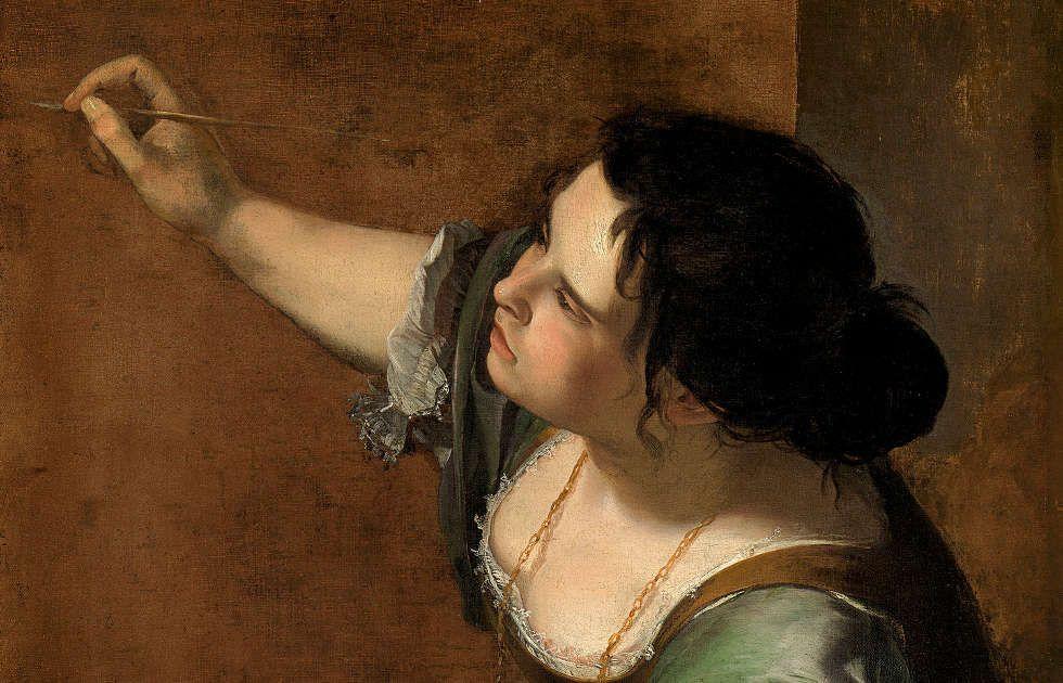 Artemisia Gentileschi, Selbstporträt als die Allegorie der Malerei (La Pittura), Kopf, um 1638/39, Öl/Lw, 98.6 x 75.2 cm (Royal Collection of Her Majesty the Queen Elizabeth II., Royal Collection Trust, RCIN 405551)