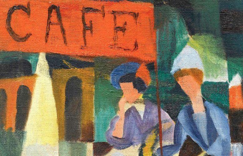 August Macke, Café am See, Detail, 1913 (Franz Marc Museum, Kochel a. See, Dauerleihgabe aus Privatbesitz)