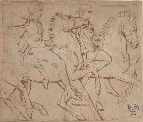 Auguste Rodin, Studie nach den Reitern am südlichen Parthenon Fries, Grafit, Feder und Tinte, vor 1870 (Musée Rodin, Foto Jean de Calan)
