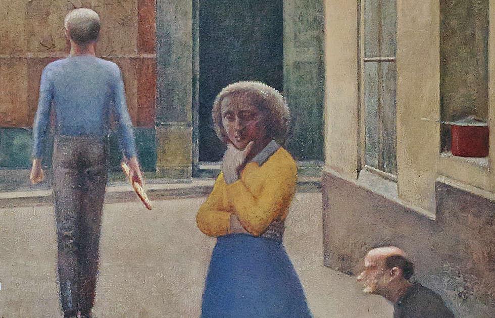 Balthus, Passage du Commerce-Saint-André, Detail, 1952–1954, Öl/Lw, 294 x 330 cm (Privatsammlung, © Balthus, Foto: Mark Niedermann)