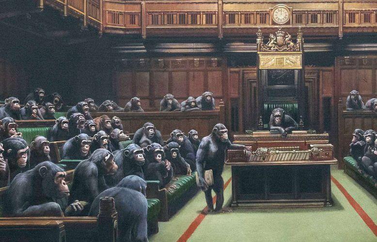 Banksy, Devolved Parliament, Detail, 2009 (Privatsammlung, © Banksy)