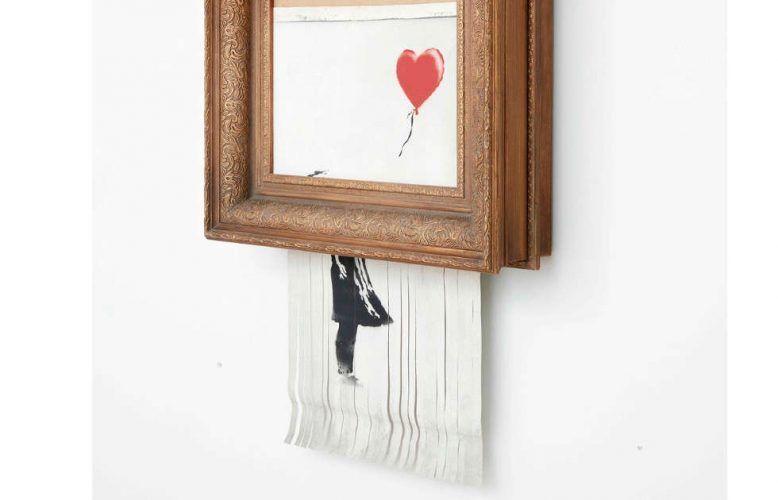 Banksy, Love Is in the Bin, Detail, 2018, Sprayfarbe und Acryl auf Leinwand, 142 x 78 x 18 cm, Privatsammlung, Foto: Sotheby's, © Banksy
