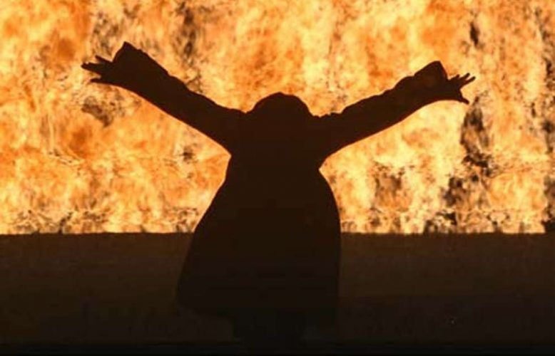Bill Viola, Fire Woman, Detail, 2005. Video/sound installation. Performer: Robin Bonaccorsi (Courtesy Bill Viola Studio; Photo Kira Perov)