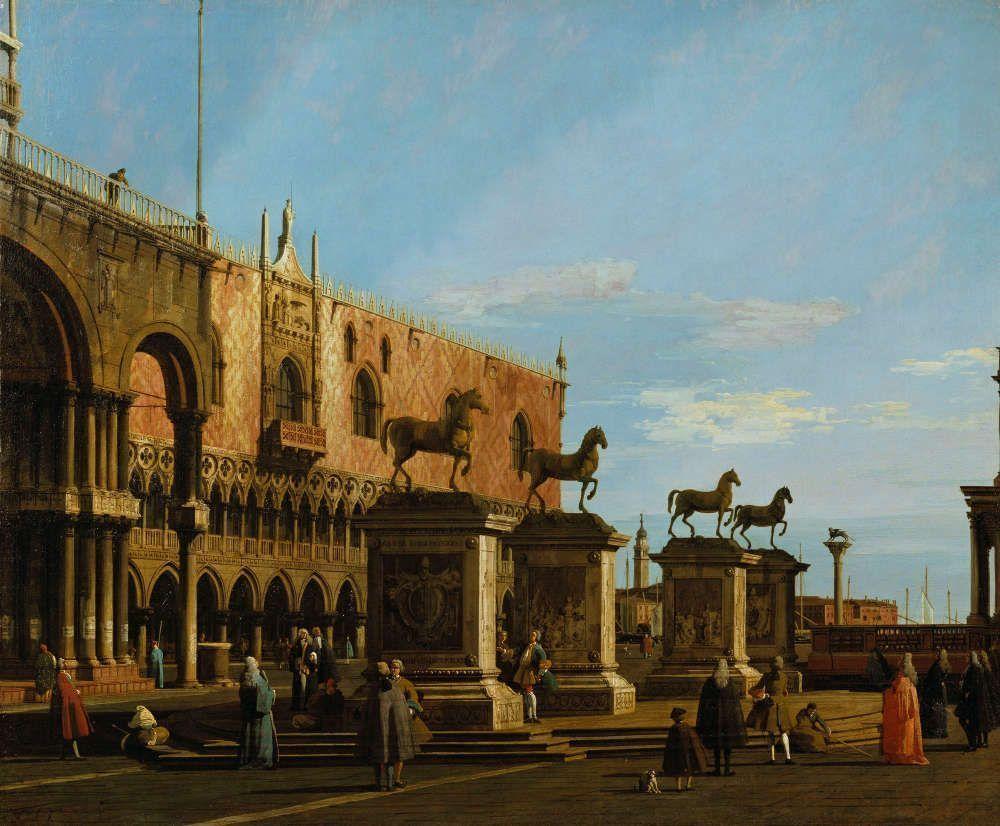 Canaletto, Capriccio Vedute der Pizzetta mit den Pferden von San Marco, um 1743/44, Öl/Lw, 108 x 129,9 cm (Royal Collection Trust/© Her Majesty Queen Elizabeth II 2016)