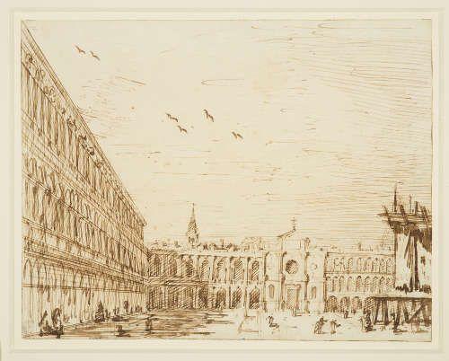 Canaletto, Die Piazza nach Westen, um 1723/24, Bleistift, Feder, Tinte, 18 x 23,1 cm (Royal Collection Trust/© Her Majesty Queen Elizabeth II 2017)