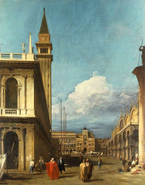 Canaletto, Die Piazzetta in Richtung Norden zum Torre dell'Orologio, um 1723/24, aus einer Serie von sechs Ansichten von Venedig (Royal Collection Trust/© Her Majesty Queen Elizabeth II 2017)