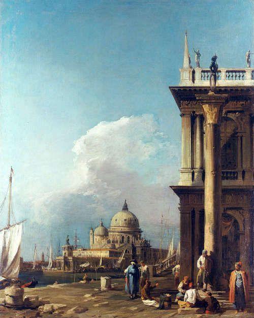 Canaletto, Die Piazzetta in Richtung Santa Maria della Salute, um 1723/24, aus einer Serie von sechs Ansichten von Venedig (Royal Collection Trust/© Her Majesty Queen Elizabeth II 2017)