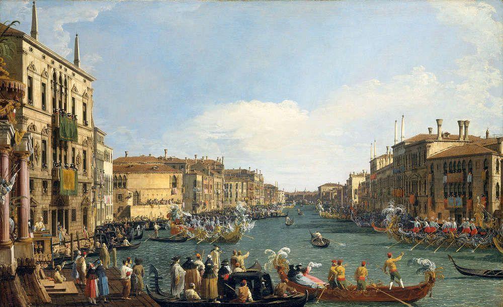 Canaletto, Eine Regatta auf dem Canal Grande, um 1733/34, Öl/Lw, 77,1 x 125,7 cm (Royal Collection Trust/© Her Majesty Queen Elizabeth II 2016)
