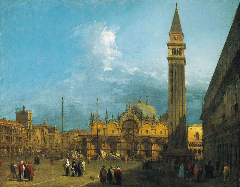 Canaletto, Piazza San Marco nach Osten in Richtung Basilika und Campanile, um 1723/24, aus einer Serie von sechs Ansichten von Venedig (Royal Collection Trust/© Her Majesty Queen Elizabeth II 2017)