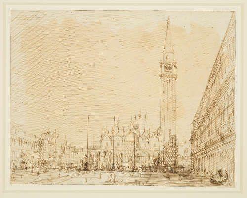 Canaletto, San Marco und die Piazza nach Osten, um 1723/24, Bleistift, Feder, Tinte, 18 x 23,1 cm (Royal Collection Trust/© Her Majesty Queen Elizabeth II 2017)