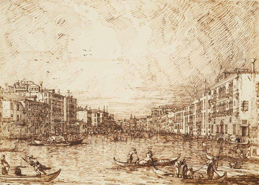 Canaletto, Venedig: Der Canal Grande, um 1734, Bleistift, Feder und Tinte, 27 x 37,5 cm (Royal Collection Trust/© Her Majesty Queen Elizabeth II 2016)