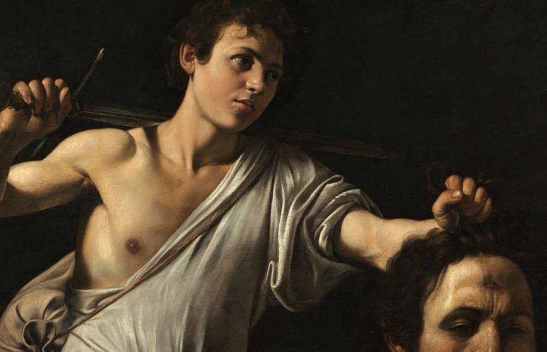 Caravaggio, David mit dem Haupt des Goliath, Detail, um 1600/01, Pappelholz, 91,2 × 116,2 cm (Kunsthistorisches Museum Wien, Gemäldegalerie © KHM-Museumsverband)